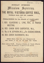 Advertisement for Sunday evening Mission services at the Royal Victoria Coffee Hall